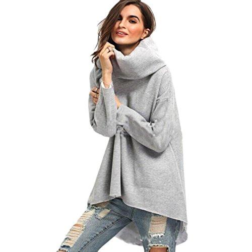 [VESNIBA Fashion Blouse Women Loose Long Sleeve T-Shirt Casual Irregular Tops (S, Gray)] (70s Plus Size Costumes Australia)