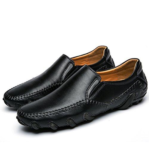 Go Tour Hombres S Casual Leather Stiching Zapatos De Conducción De Marcha De Moda Slip-on Mocasines 1 Negro