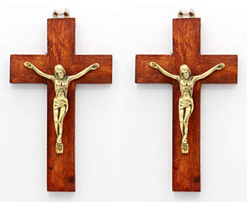 Pair of 6 Inch Handmade Wood and Brass Jesus Christ Crucifix Cross - by Crystal Collection ()