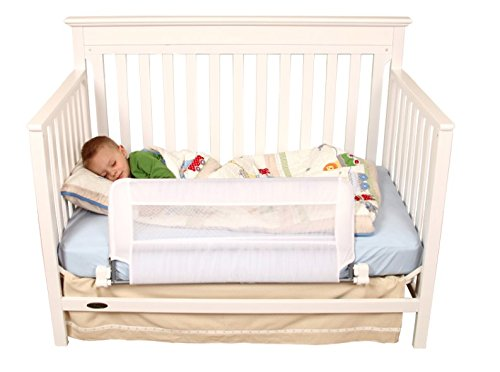 Regalo Swing Down Extra Long Convertible Crib Toddler Bed Rail Guard with Reinforced Anchor Safety - Rail Mini Side