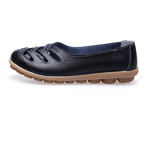 Oriskey Mocasines de cuero mujer Loafers Casual Zapatos Zapatillas Negro