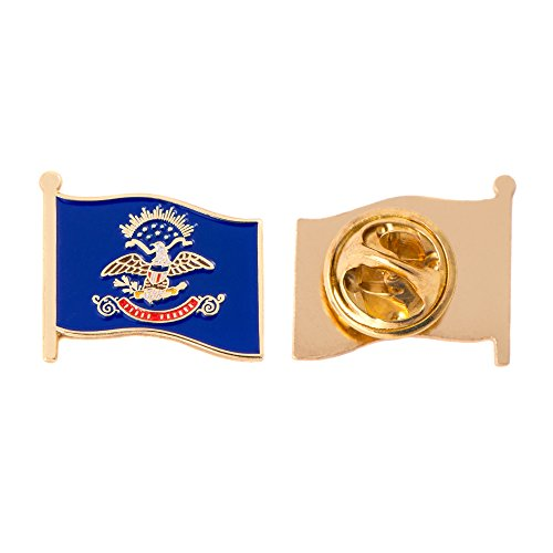 North Dakota ND State Flag Lapel Pin Enamel Made of Metal Souvenir Hat Men Women Patriotic (Waving Flag Lapel Pin)
