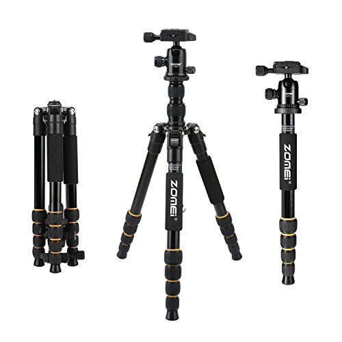 ZOMEI lightweight Travel Folding Tripod with Ball Head and Quick Release Plate Heavy Duty for Canon Nikon Sony DSLR Camera Video with Carry Case