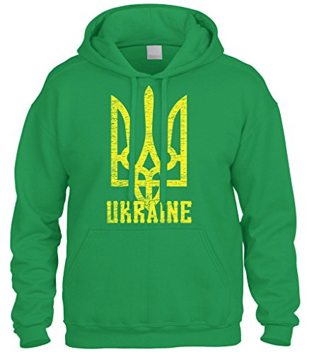 Sweatshirt Arms - Cybertela Ukraine Coat Of Arms Sweatshirt Hoodie Hoody (Kelly Green, X-Large)
