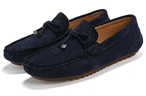 Tda Heren Comfort Klassieke Knoop Leren Rijden Instappers Bootschoenen Blauw