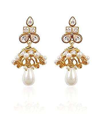 Rajwada Arts Brass Jhumki Earring For Women (White) Earrings at amazon