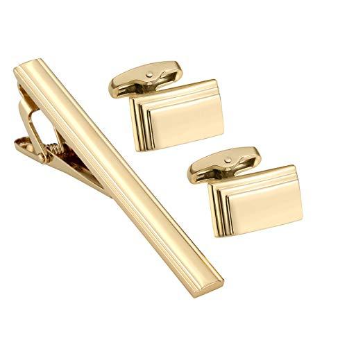 Engraved Stud Cufflinks - PiercingJ 3pcs Personalized Custom Engrave Name Initial Tie Clip Cufflinks Set Tie Pins Bar Cuff Link Shirt Studs Set Father Mens Business Wedding Shirts + Gift Box