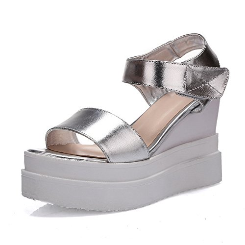 1TO9 Womens American Muffin Buttom Color Matching Thick Bottom Heel Cow Leather Sandals Silver eyH6OL