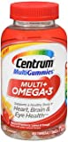 Cheap Centrum MultiGummies Multi + Omega-3 Multivitamin, Strawberry, Lemon, Orange, 100 Gummies (Pack of 2)