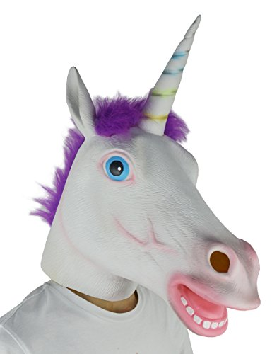 LarpGears Deluxe Novelty Halloween Costume Latex Unicorn Animal Mask Purple Hair Adult Size]()