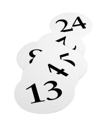 Weddingstar Round Table Number Cards, Numbers 13 to 24