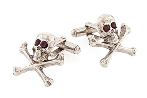 JJ Weston Red Crystal Eyes Skull Cufflinks. Made in the USA.
