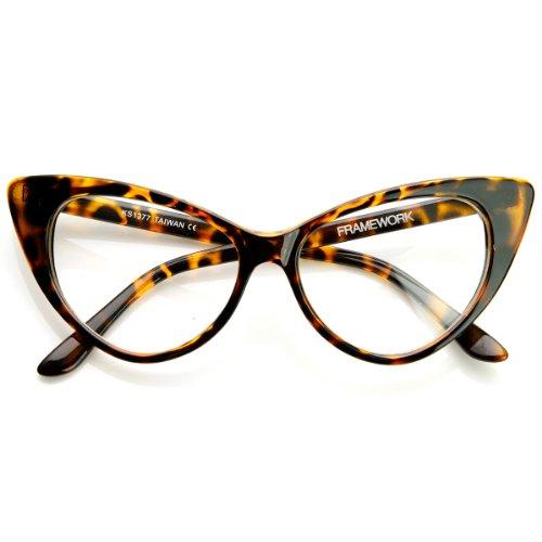 zeroUV - Super Cat Eye Glasses Vintage Inspired Mod Fashion Clear Lens Eyewear (Havana) (54 Mm Eyeglasses)