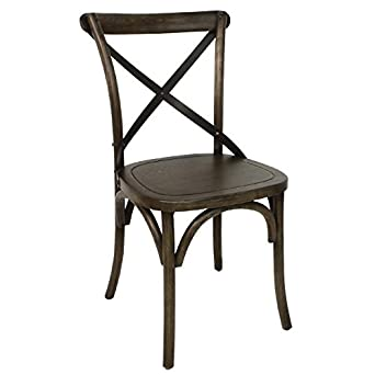 2x Bolero Wooden Dining Chair With Metal Cross Backrest 470mm