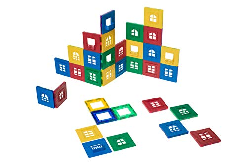 Playmags Magnetic Tile Building Set: Exclusive Window Clickins - 60-Pc. Kit: 30 Super Strong Clear Color Magnetic Tiles Windows & 30 Clickin Windows - Stimulate Creativity & Brain Development (Best Windows 8 Live Tiles)