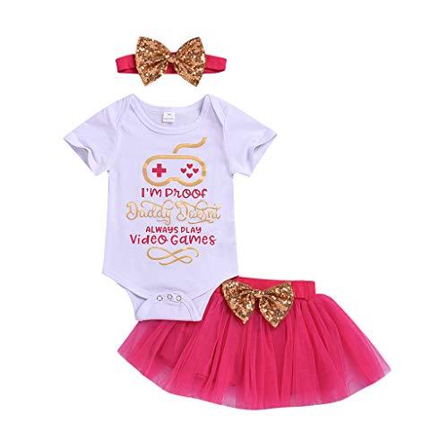 Baby Girl Kids Letter Print Romper Bodysuit+Tutu Dress Hair Band Sets Outfits White