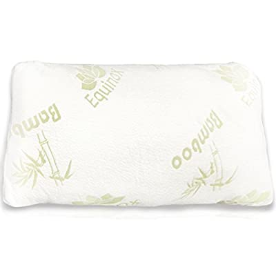 Equinox International Queen/Standard Size 17 X 25-Inches Shredded Memory Foam Pillow with Removable Bamboo Soft Pillow Case