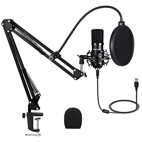 USB Streaming Podcast PC Microphone,Professional Computer Mic 192kHz/24bit Studio Cardioid Condenser Mic Kit with Sound Card Boom Arm Shock Mount Pop Filter, for Skype (Black) (Renewed)