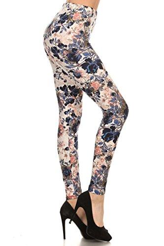 R593-OS Bloom Time Print Fashion Leggings ()