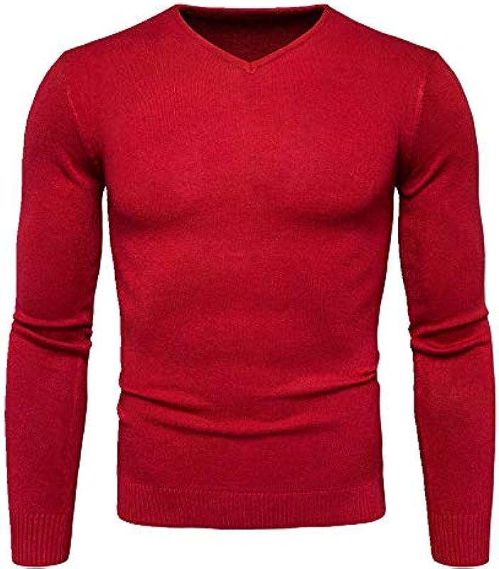 Frühling Herbst Slim Fit Solid Strick Langarm Pullover Pullover Tops Męskie Baumwolle V-Ausschnitt Sweater: Odzież