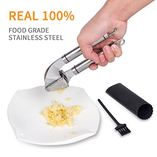 Garlic Press Stainless Steel Kitchen Kimire Garlic Mincer and Chopper Garlic Peeler Silicone Tube Roller and Crusher Garlic Tools Ergonomic Handles Kitchenware Cooking Equipment (Garlic Press)