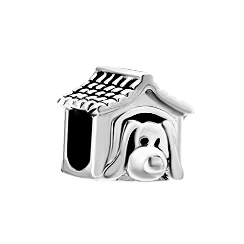 (Christmas Gifts Sterling Silver Pet Dog House Love Animal Charm Beads Fit Pandora Jewelry Bracelets)