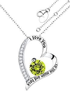 Sterling Silver Peridot Jewelry Heart Pendant Birthstone August Necklace Birthday Gifts for Women,18+2''