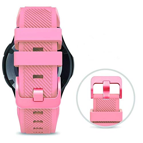 Bands for SAMSUNG Gear S3 Frontier/Classic Watch Silicone Bracelet Rose Gold Buckle, Sports Silicone Band Strap Replacement Wristband For Samsung Gear S3 Frontier/S3 Classic (Blush Pink-RGB)