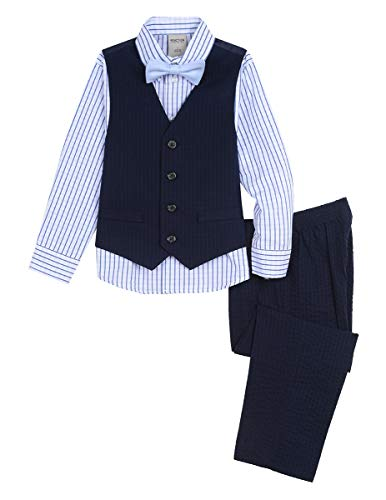 Kenneth Cole Boys' Little 4-Piece Formal Vest Set, Tonal Navy 4