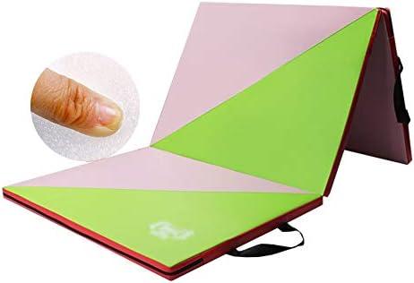 スポーツマット ストレッチマット フィットネスマット 家庭 体重が減る トレーニングマット 学生 スポーツマット レザー 防水 折り畳み式 2素材 GUORRUI (Color : A, Size : 80x183x4cm)