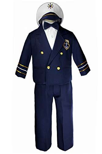 Leadertux Sailor Captain Suits for Boys Outfits from New Born to 7 Years Old (7, Navy Pants) ()