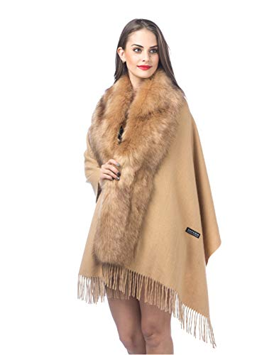 Lambswool Shawl Collar - Woman Cashmere Wool Scarf Shawl Wraps with Faux Fur Collar Warm Soft Winter Wedding (PC-Camel)