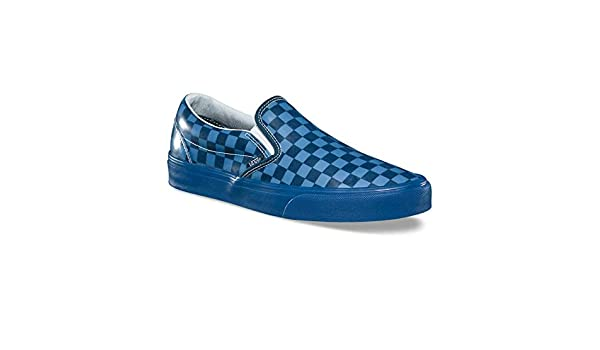 c9e3ba0974 Vans Classic Slip On Size 9 Women   7.5 Mens Translucent Rubber  Checkerboard Reflective Pond Blue Skateboarding Shoes  Amazon.ca  Shoes    Handbags
