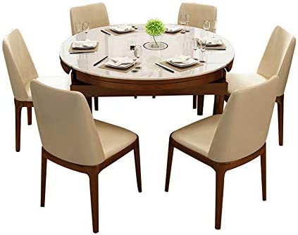 Solid Wood Telescopic Dining Table And Chair 1 35m Tempered Glass