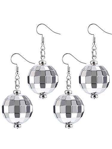 Tatuo 2 Pairs of Disco Ball Earrings 60's or 70's Silver Disco Ball Earrings for Women -