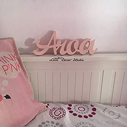Custom Pink Children's Personalized Wooden Name Signs- Children's Name Wall Decor (12cm) Love Decor Studio _ 1968 20187300162