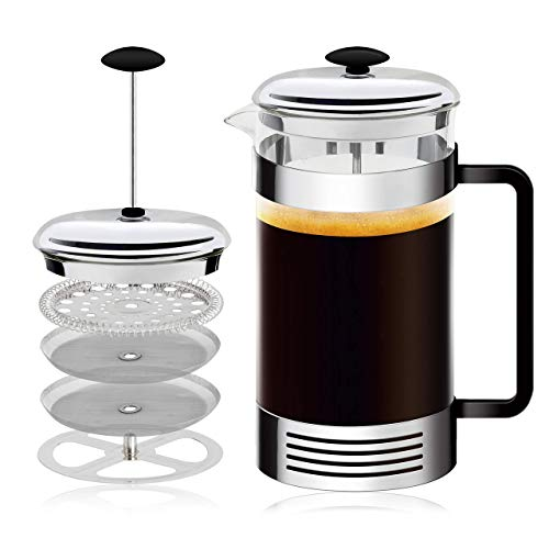French Press High-Grade Stainless-Steel Single Cup or 32 Ounce Multi-Cup Coffee Maker, Coffee Press For Gourmet Coffee…