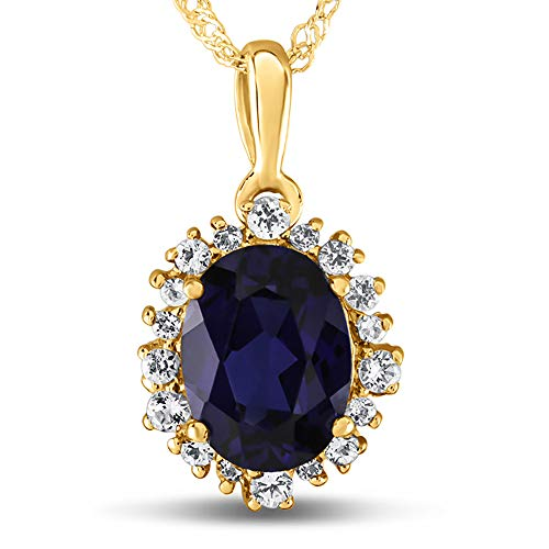 Finejewelers 10k Yellow Gold Oval Created Blue Sapphire with White Topaz accent stones Halo Pendant Necklace ()