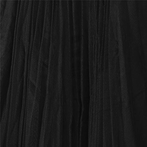 Tutu Plisse Jupe Haute Tulle Longue Femmes en Taille Dentelle Gaze Noir f7w6fZ