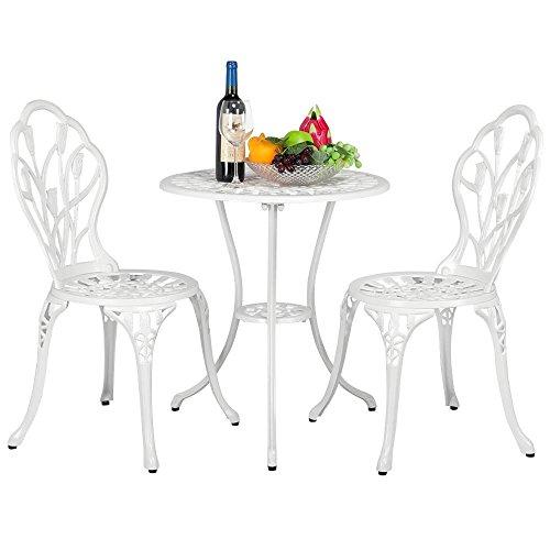 Topeakmart 3-Piece Bistro Set Outdoor Setting Cast Bistro Table Chair Vintage Patio Tulip Design,Aluminum Made, White