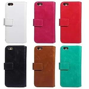 GX caso loco separación del bolso del teléfono billetera ranura para tarjetas marco de cuero ma wen para el iphone 6 más (color clasificado). , Red