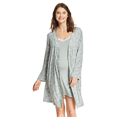 LAMAZE Intimates Womens Maternity Nursing V-Neck Nightgown Matching Belted Robe Set Sage ()