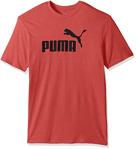 PUMA Men's No 1 Logo Perferated Graphic T-Shirt, Puma Red Heather, Medium