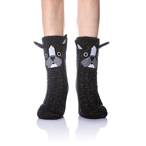 Velice Women's Soft Cute Cable Knit Animal Warm Fuzzy Fleece Lining Winter Cozy Home Slipper Socks (Black Dog) ()