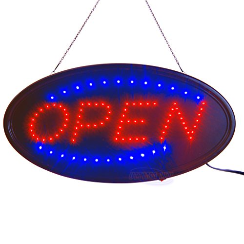 "LED Open Sign for Business Displays: Oval Electric Light Up Sign Open with 2 Flashing Modes | Lighted Signs for Barber Shops, Retail Stores | No use of toxic Neon (19"" x 10"", Model 3)"