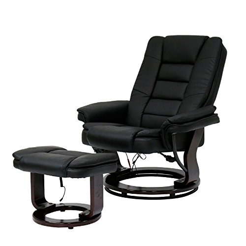 Kinbor PU Leather Massage Chair Recliner Ottoman w/ Control, 8 Heat & Massage Modes (black) by kinbor