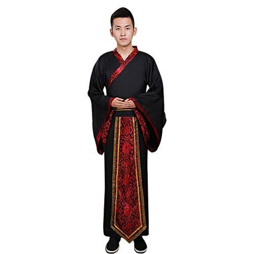 DAZISEN Men's Hanfu Chinese Style Traditional Clothing Tang Suit Cosplay Costume Black ()