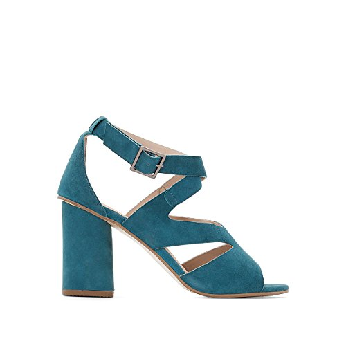 La Redoute Womens Leather Sandals with Asymmetric Strap Blue