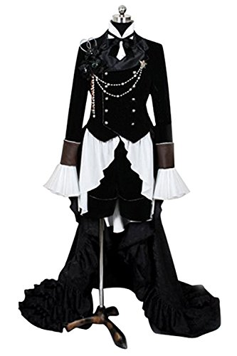 Ciel Phantomhive Costume Cheap (UU-Style Black Butler Ciel Cosplay Black Tuxedo Costume Long Tail Coat Outfit)