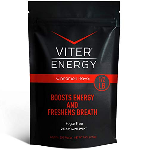 Viter Energy Caffeinated Mints – 40mg Caffeine & B-Vitamins Per Powerful Sugar Free Mint. Boost Energy, Focus & Fresh Breath. 2 Pieces Replace 1 Coffee (Cinnamon, 1/2 LB Bulk (Mints Only))